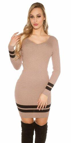 Pletené mini šaty s pruhmi | Cappuccino