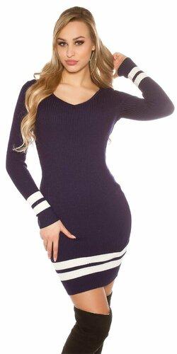 Pletené mini šaty s pruhmi Tmavomodrá