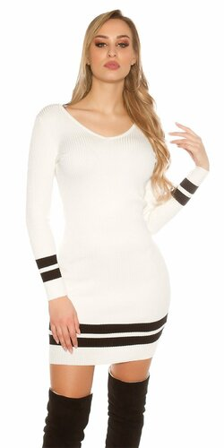 Pletené mini šaty s pruhmi Biela