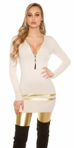 Dlhý sveter so zlatými pruhmi Béžová