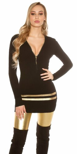 Dlhý sveter so zlatými pruhmi | Čierna