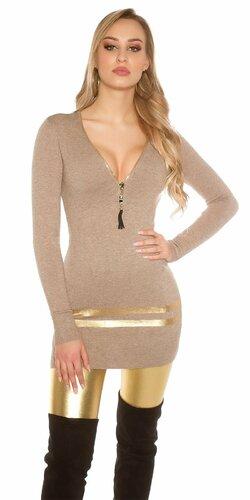 Dlhý sveter so zlatými pruhmi Cappuccino