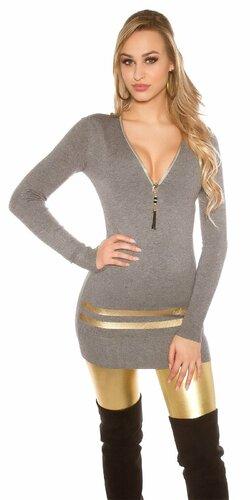 Dlhý sveter so zlatými pruhmi Šedá