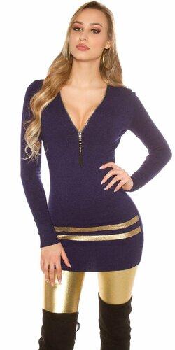 Dlhý sveter so zlatými pruhmi Tmavomodrá