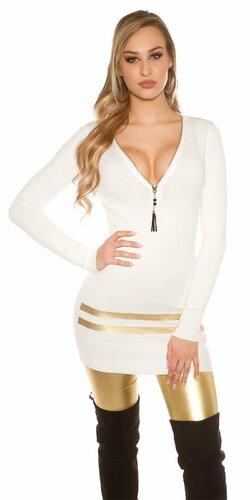 Dlhý sveter so zlatými pruhmi Biela
