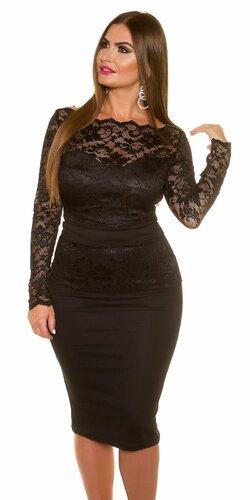 Dámske čipkované šaty pre moletky KouCla Čierna