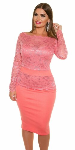 Dámske čipkované šaty pre moletky KouCla | Koralová