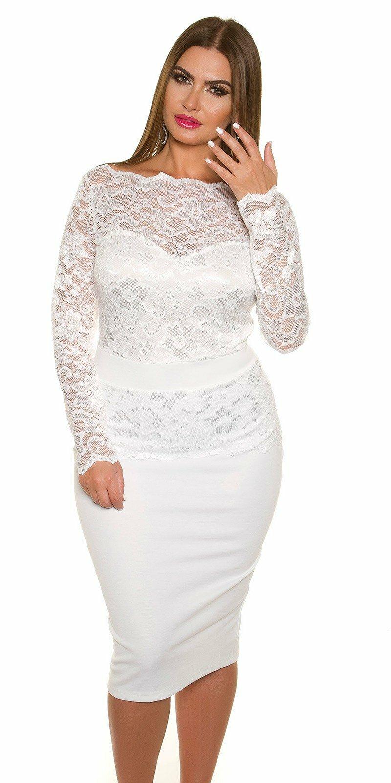 1b1e41744b08 Dámske čipkované šaty pre moletky KouCla  Veľkosť 16 (XL) Farba Biela