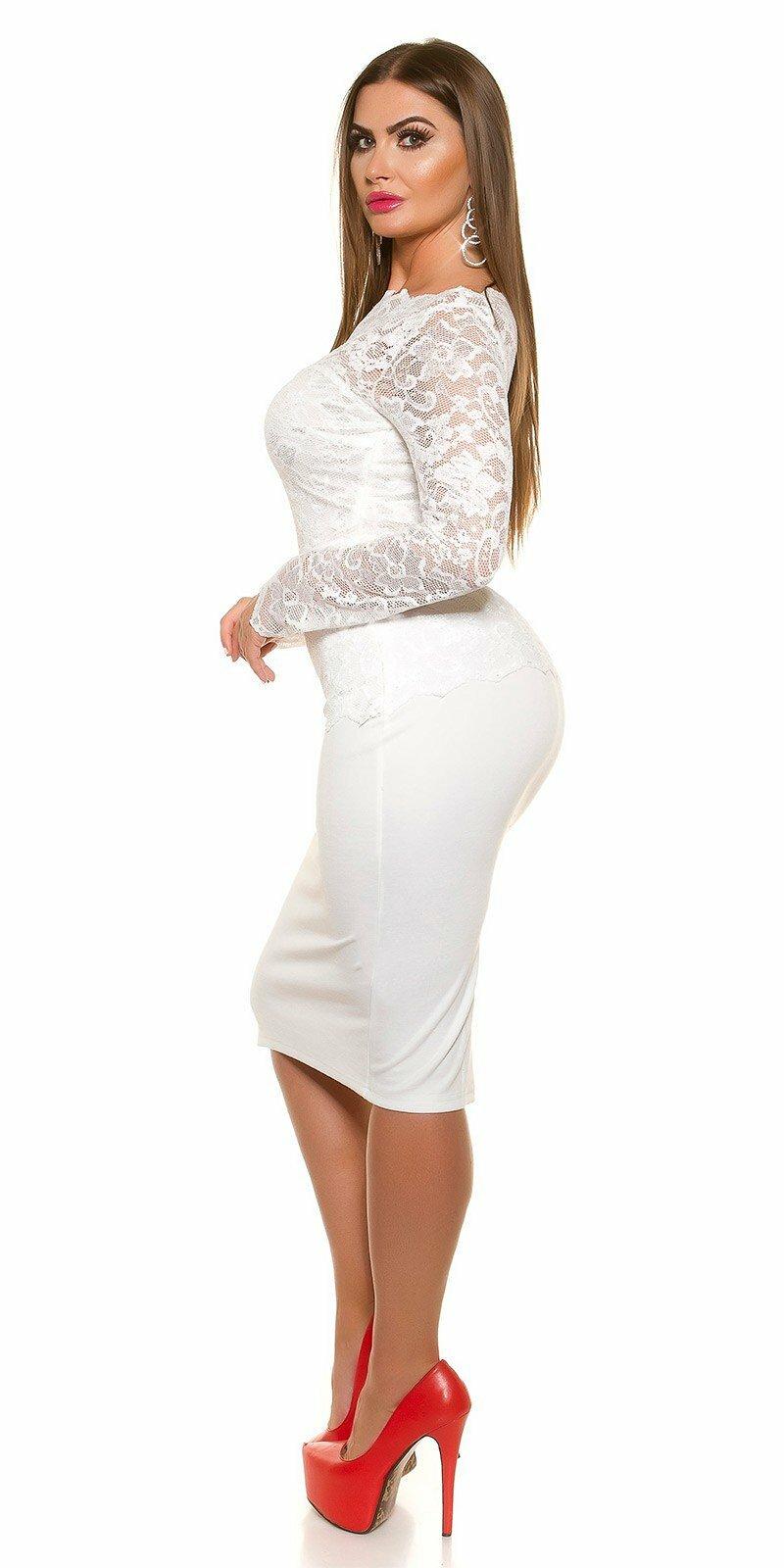 Dámske čipkované šaty pre moletky KouCla  Veľkosť 16 (XL) Farba Biela ed5977440d1