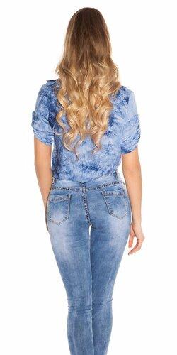 Batikovaná crop košeľa Modrá