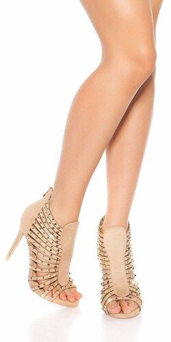 Vybíjané sandále na vysokom podpätku | Béžová