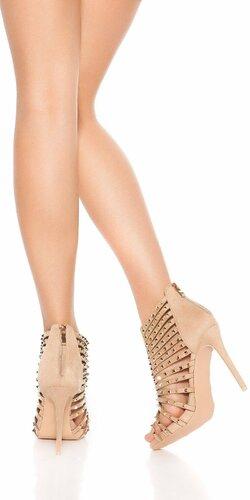 Vybíjané sandále na vysokom podpätku Béžová