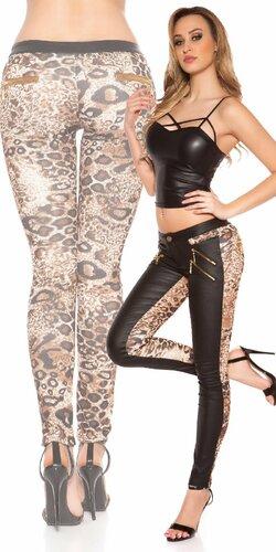 Dámske nohavice so zlatými zipsami | Leopard