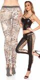 Dámske nohavice so zlatými zipsami Leopard