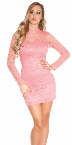 Čipkované šaty s dlhým rukávom | Koralová