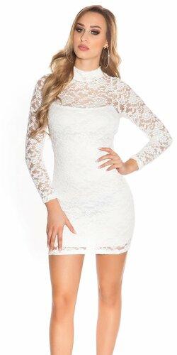 Čipkované šaty s dlhým rukávom | Biela