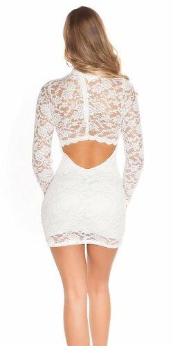 Čipkované šaty s dlhým rukávom Biela
