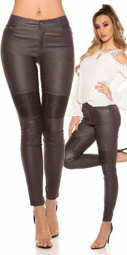 Šedé úzke kožené nohavice