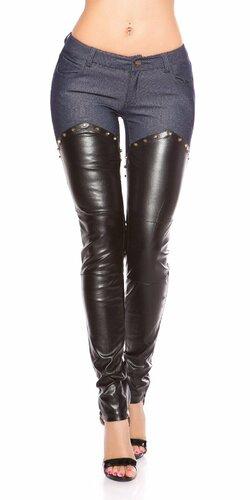 Kombinované nohavice s imitáciou kože Tmavomodrá