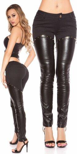 Kombinované nohavice s imitáciou kože | Čierna