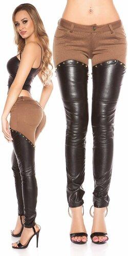 Kombinované nohavice s imitáciou kože | Cappuccino