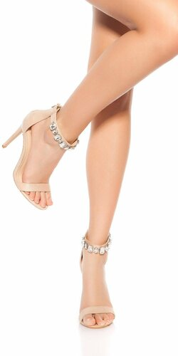 Sandále na podpätku s kamienkami | Béžová