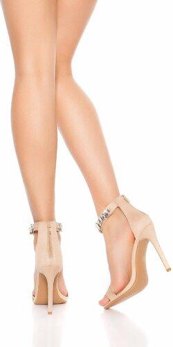 Sandále na podpätku s kamienkami Béžová