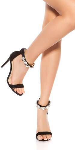 Sandále na podpätku s kamienkami Čierna