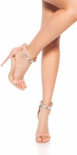 Sandále na podpätku s kamienkami | Bledá ružová