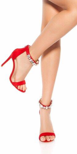 Sandále na podpätku s kamienkami Červená