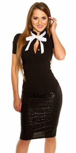 Dámska košeľa s krátkymi rukávmi s viazaním okolo krku | Čierna