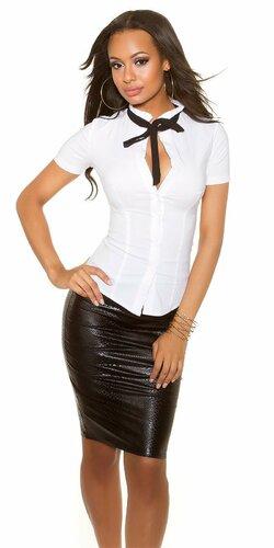 Dámska košeľa s krátkymi rukávmi s viazaním okolo krku | Biela