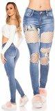 Džínsy s bielou sieťkou Modrá