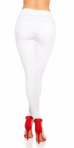 Biele džínsy so zvýšeným pásom Biela