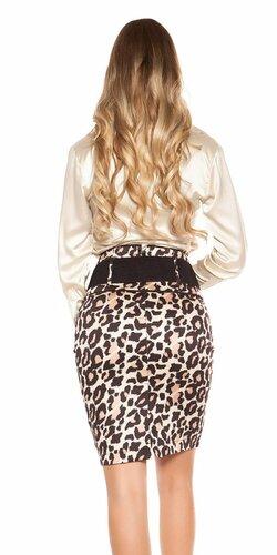 Dámska sukňa s leopardími vzormi s opaskom Leopard