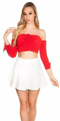Crop top s odhalenými ramenami Červená