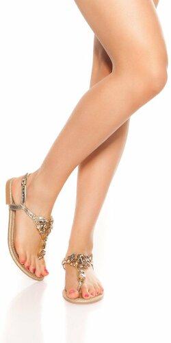 Prstové sandálky s kamienkami | Zlatá