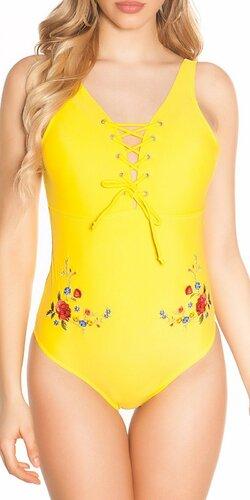 Monokiny s viazaním na prsiach a výšivkou | Žltá