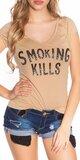 Dámske Tričko ,,Smoking Kills,, Béžová
