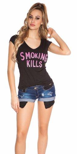 Dámske Tričko ,,Smoking Kills,, Čierna