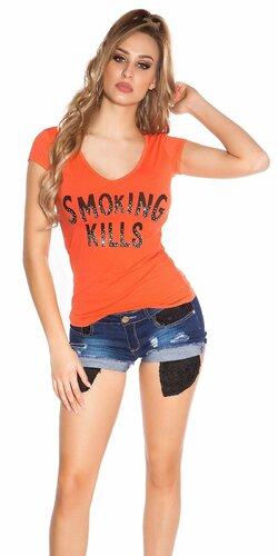 Dámske Tričko ,,Smoking Kills,, Koralová