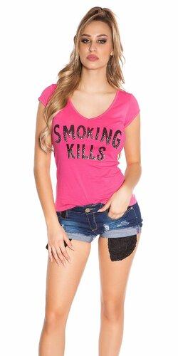 Dámske Tričko ,,Smoking Kills,, | Ružová