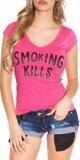 Dámske Tričko ,,Smoking Kills,, Ružová
