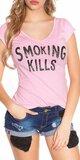 Dámske Tričko ,,Smoking Kills,, Bledá ružová