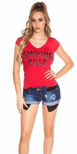 Dámske Tričko ,,Smoking Kills,, | Červená