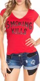 Dámske Tričko ,,Smoking Kills,, Červená