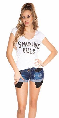 Dámske Tričko ,,Smoking Kills,, | Biela