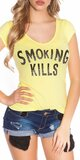 Dámske Tričko ,,Smoking Kills,, Žltá