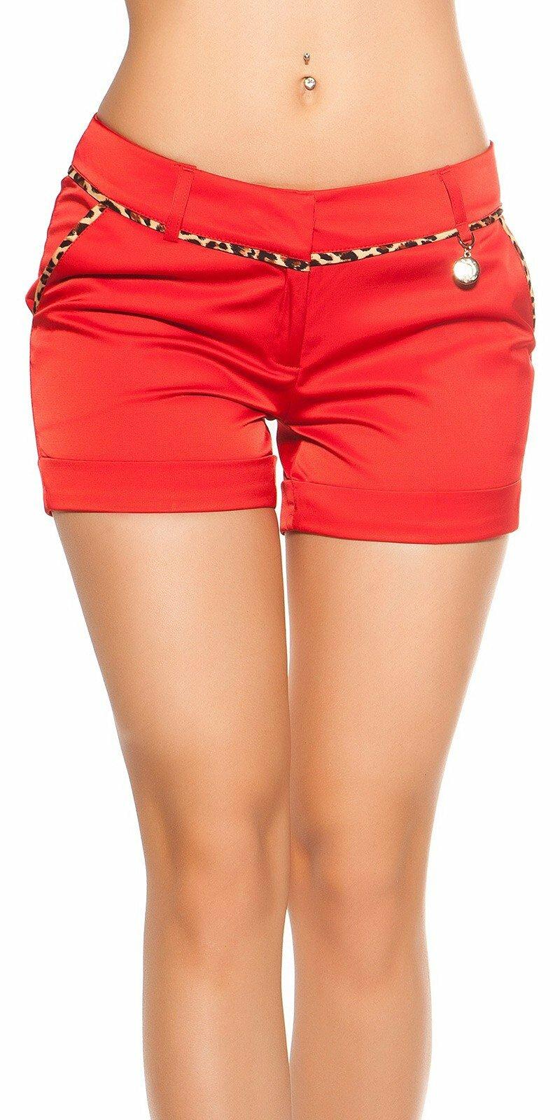 Dámske šortky s leopardími vzormi #Veľkosť 36 (S) Farba Červená