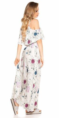 Maxi kvietkované šaty Biela